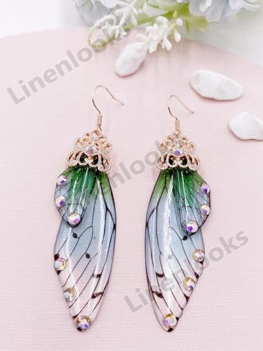 Elegant Long Butterfly Wing Bride Earrings Female Fashion Animal Earrings