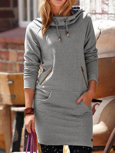 Solid Hoodie Casual Long Sleeve Outerwear