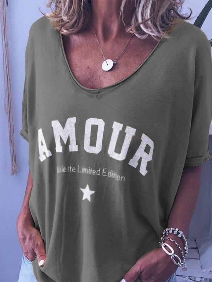 V-Neck Short Sleeve Cotton Shirts