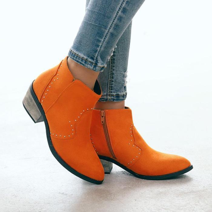 Chunky Heel Closed Toe Women Boots