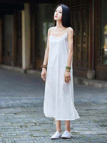 Tank Type Women Linen and Cotton Sleeveless Tea Length Dress