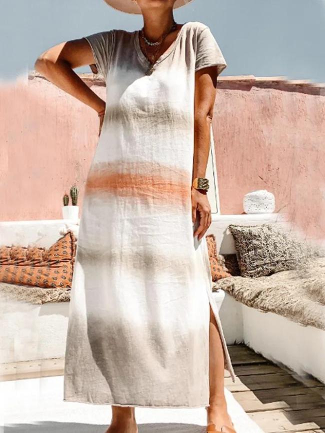 Khaki Short Sleeve V Neck Dresses