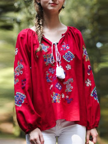 Embroidered Long Sleeve Shirts & Tops