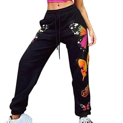 Streetwear Butterfly Printed Sweatpants Baggy Fashion Joggers Elastic Women's Pants