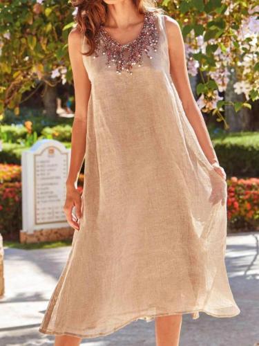 Khaki Sleeveless Casual Plain Dresses