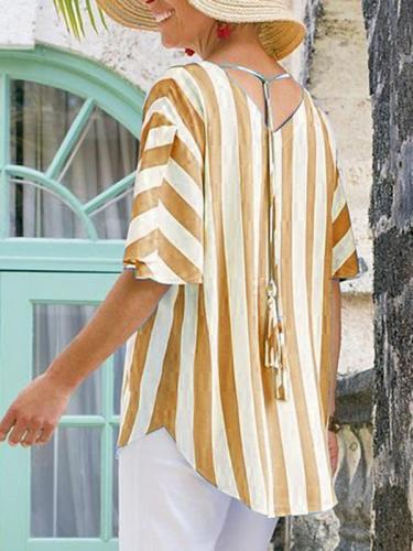 Blue Striped Half Sleeve Round Neck Shirts & Tops