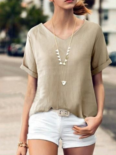 Solid Short Sleeve Casual V Neck Shirts & Tops