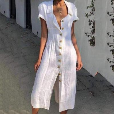 Fold Over Collar  Single Breasted  Plain Shift Dress