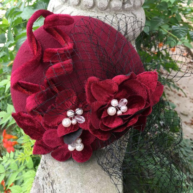Antique Handmade Flower Decoration Woolen Hat Dress Hat Accessories