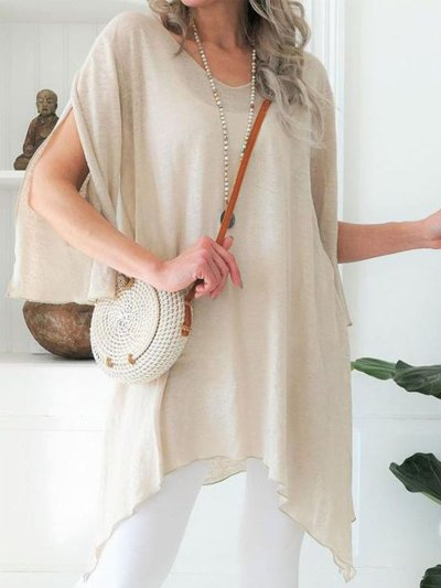 Apricot Solid Short Sleeve Round Neck Shirts & Tops