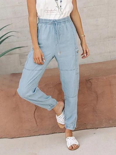 Casual Plain Denim Drawstring Pants