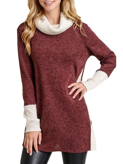Cowl Neck Casual Patchwork Vented Sweater
