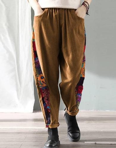 2020  Vintage Pockets Long Trousers Corduroy Print Patchwork Pants