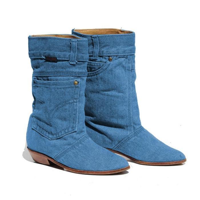 Women Denim Booties Casual Plus Size Shoes