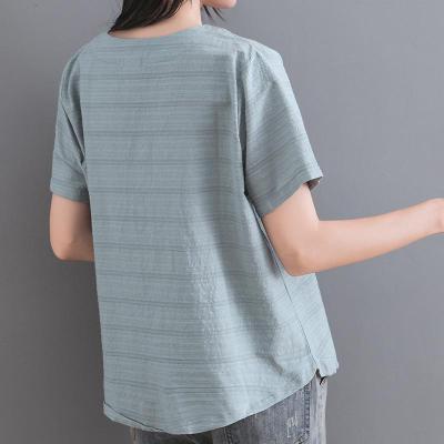 Cotton Linen Flower Embroidery Short-sleeved Round Neck Retro Loose Summer Regular Top