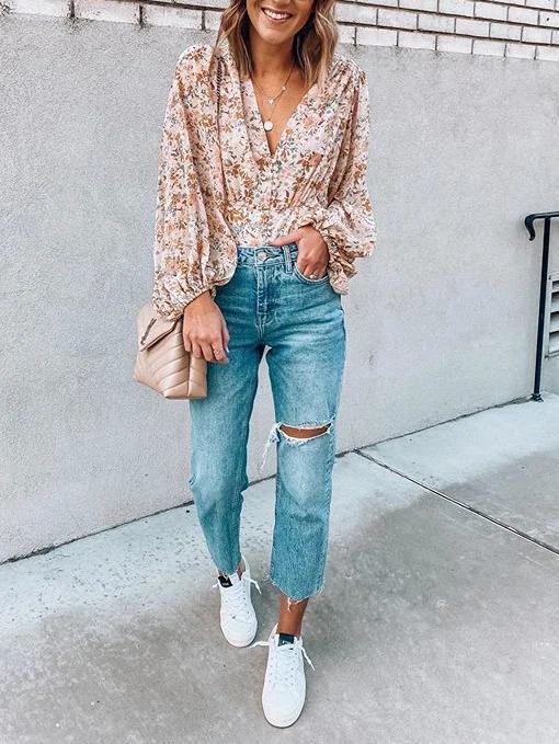 Chiffon Long Sleeve Shirts & Tops
