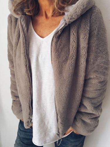 Plus Size Casual Long Sleeve Solid Outerwear