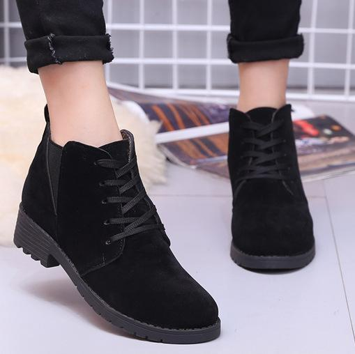 Women Spring Ankle Suede Lace-Up Casual Boots
