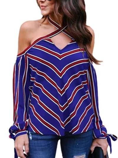 Striped Off-Shoulder Cross Tie Shirt
