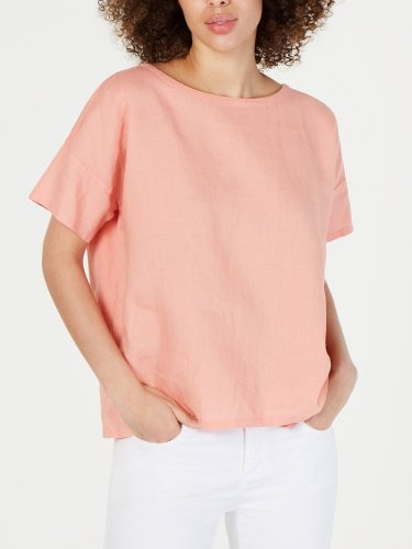 Plus Size Round Neck Solid Casual Tops