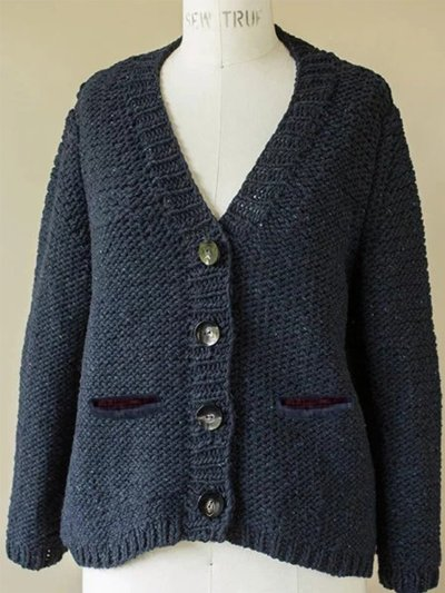 Casual Plain Knitted V-neck Long Sleeve Buttoned Sweater