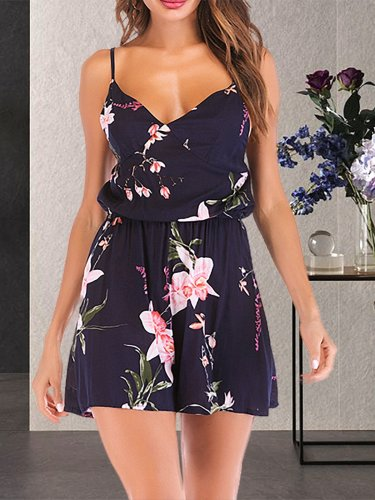 Plus Size Sleeveless  Holiday  Floral Sling Jumpsuit