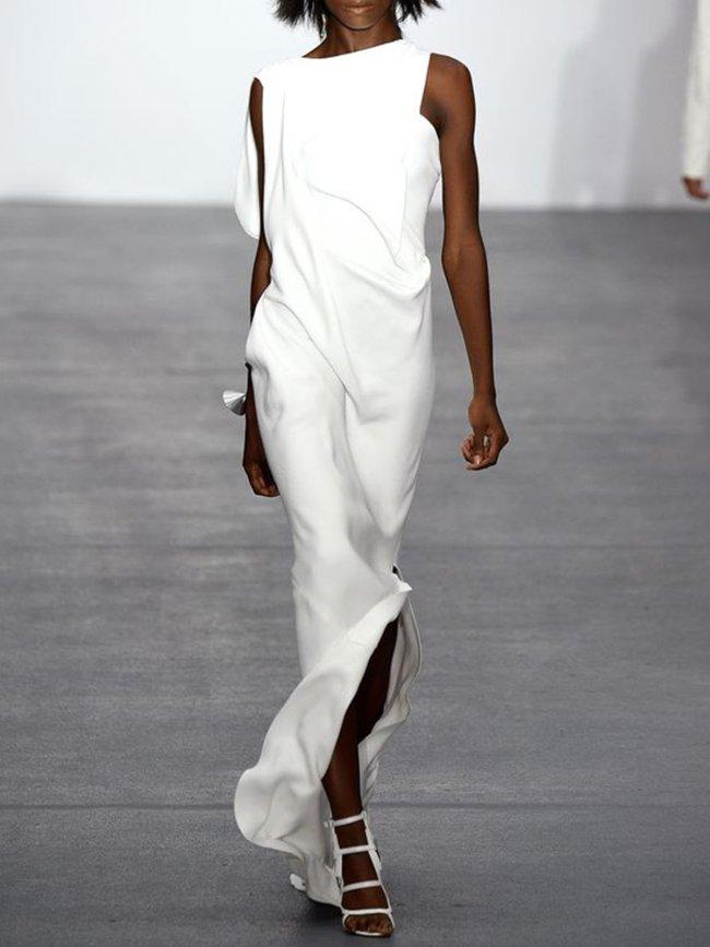White Cotton-Blend Sleeveless Dresses