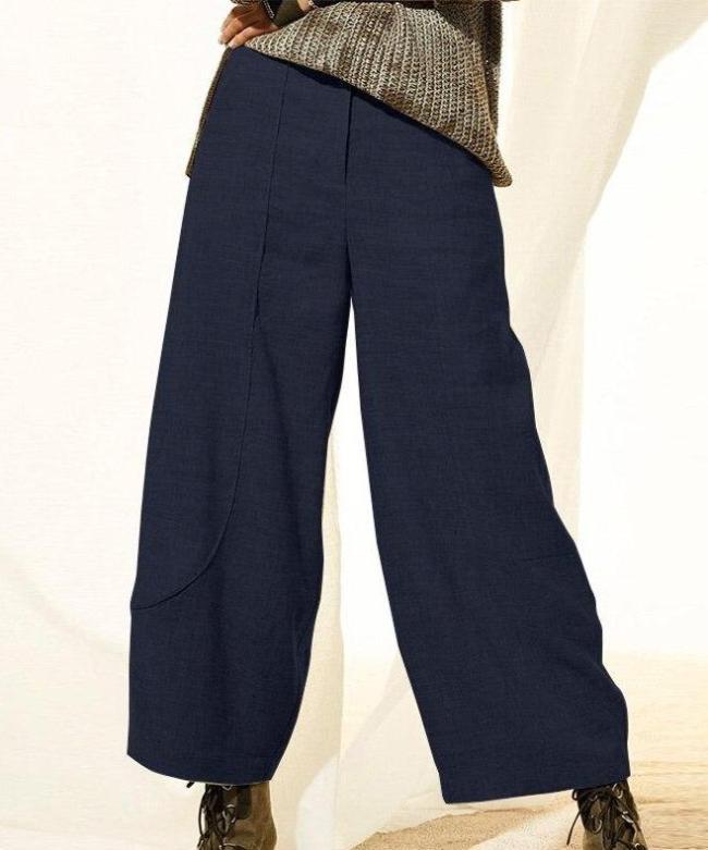 Solid Wide Leg Trousers Autumn Button Front Zipper Long Pantalon Woman Casual Pants