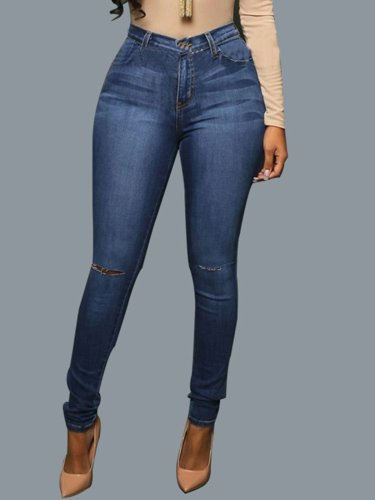 Deep Blue Hole Pocket Jeans