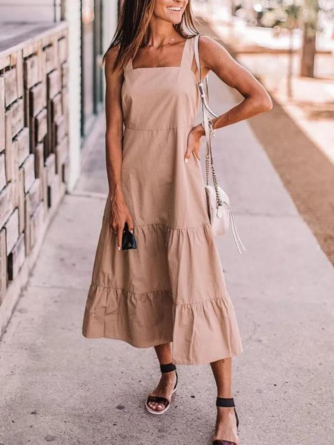 Khaki Solid Casual Sleeveless Dresses