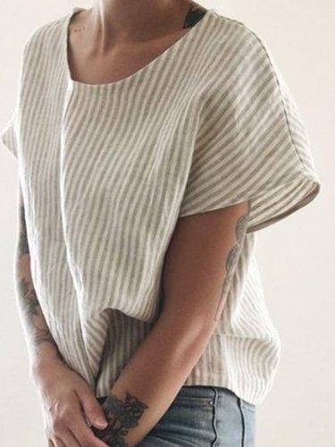 Cream Linen Short Sleeve Stripes Crew Neck Shirts & Tops