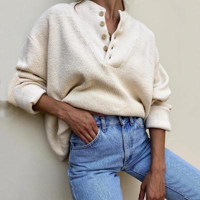 Women's Fashion Single-Breasted Long Sleeve Knit Sweater