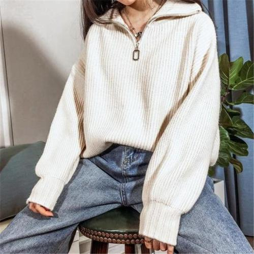 Ladies Fashion Half Zip Apricot White Knit Sweater