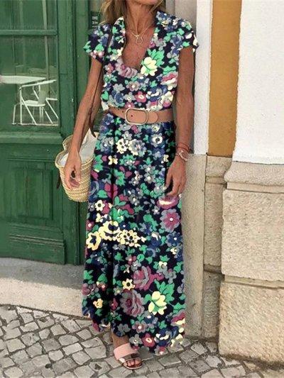 V-neck Flowers Printed Maxi Dress