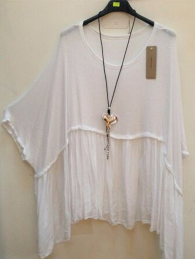Plus Size Paneled Batwing Asymmetrical T-shirts