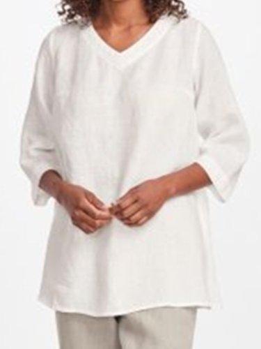 White Casual V Neck Plain Shirts & Tops