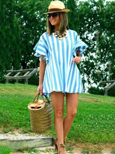 Blue Striped Cotton-Blend Round Neck Short Sleeve Shirts