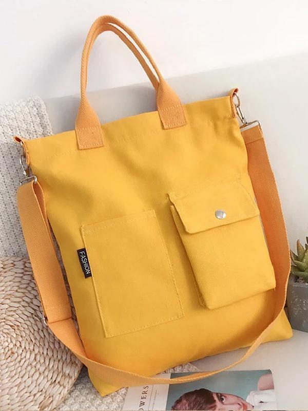3 Colors With-pockets Canvas Handbag