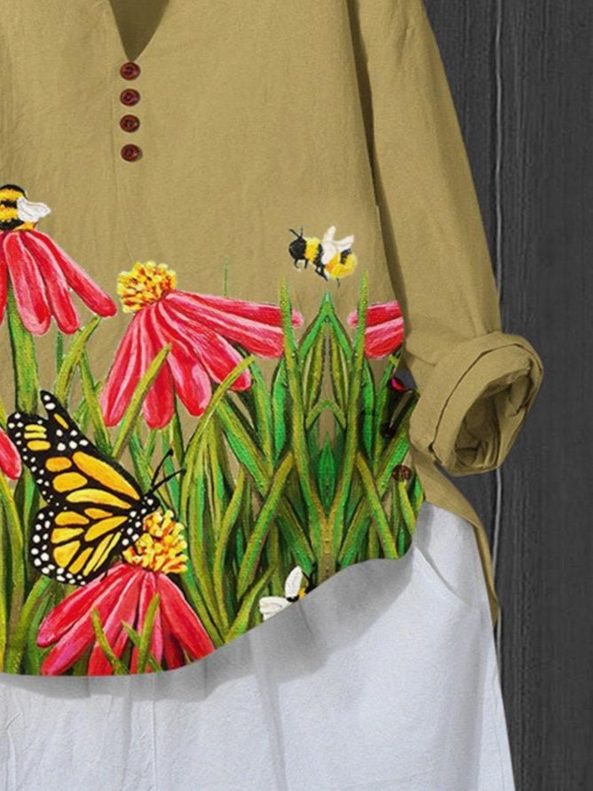 Yellow Pastoral Cotton-Blend Floral Shirts & Tops
