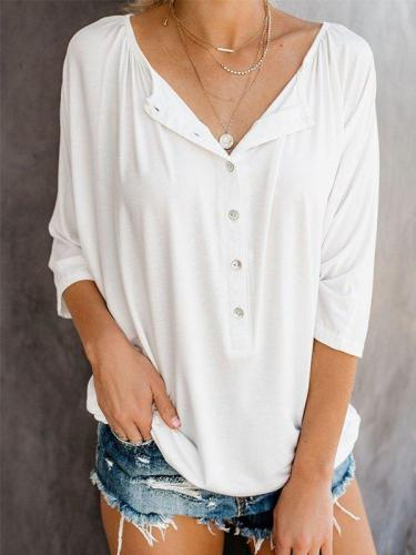 Casual V-Neck 3/4 Sleeve Solid Plus Size Tops