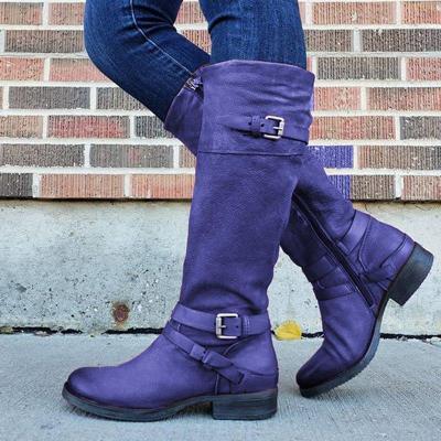 Women Plus Size Riding Boots Zipper Low Heel Faux Leather Boots