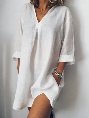 Long Sleeve Linen Casual Tops