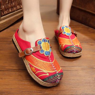 Women's Folk Embroidery Sunflower Sneakers Canvas Flats Shoes
