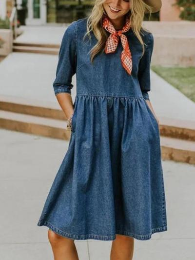 Blue Half Sleeve Crew Neck Plain Denim Dresses