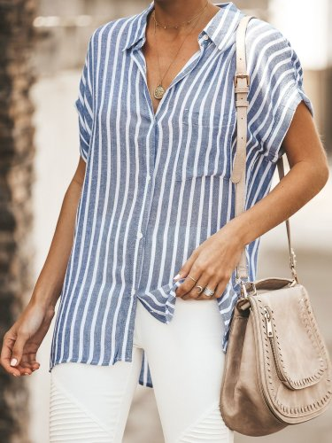 Striped Relaxed Fit Button Down Top