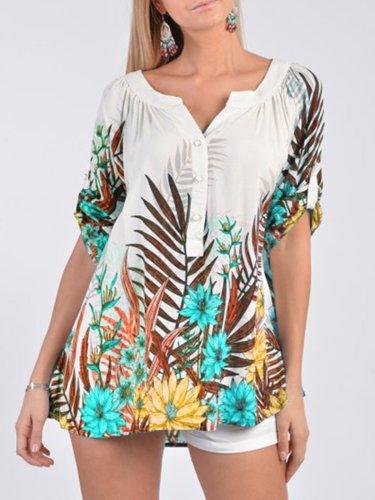 Vintage Floral Printed Short Sleeve Shirt For Women