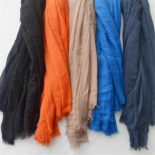 Women Fashion Big Size Fringe Cotton Viscose Scarf Lady Plain Shawls and Wraps Pashmina Stole