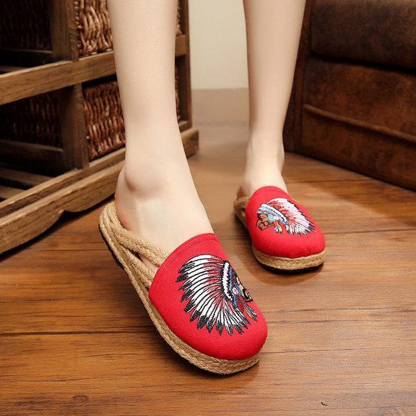 EmbroideryVintage Slip On Spring/Fall Daily Flat Heel Hollow-out Cotton Slippers