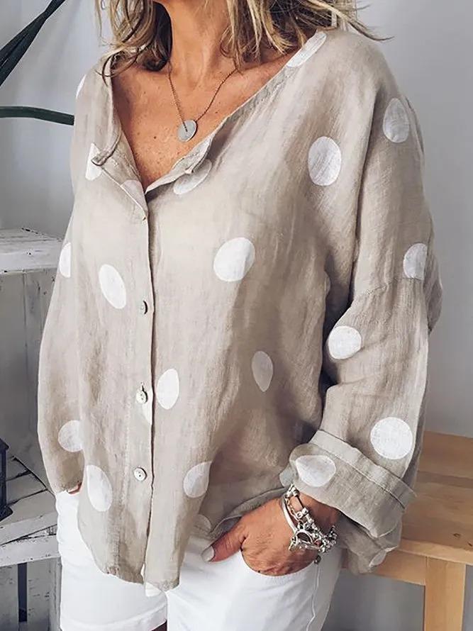Polka Dots Long Sleeve Shirts