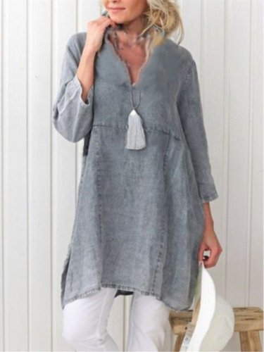 3/4 Sleeve V Neck Casual Plain Dress